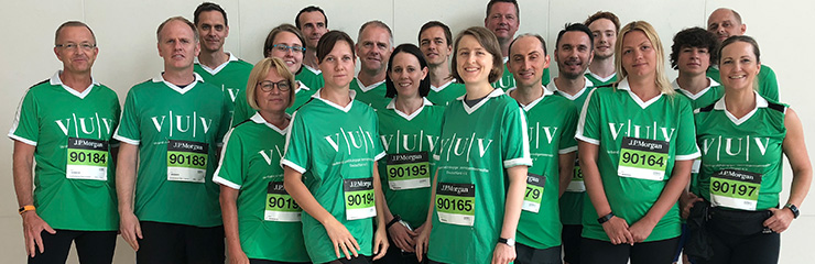 25-köpfiges VuV-Team am Start des Frankfurter Firmenlaufs